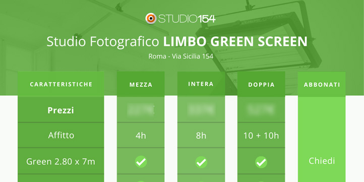 Sala posa limbo per riprese green screen